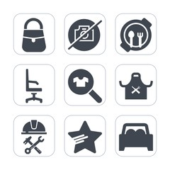 Premium fill icons set on white background . Such as kid, photo, female, vehicle, nutrition, fun, food, bag, modern, accessory, restaurant, room, sign, foreman, white, picture, woman, plate, industry