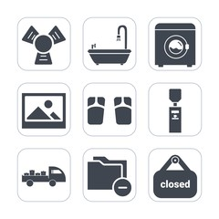 Premium fill icons set on white background . Such as shipping, clean, liquid, wash, folder, business, shop, blank, footwear, water, machine, store, old, clothes, appliance, file, housework, beach, art