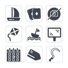 Premium fill icons set on white background . Such as toy, sailboat, card, sickle, sign, day, no, gardening, vacation, nautical, timetable, discount, sale, ship, banner, tag, road, casino, agriculture
