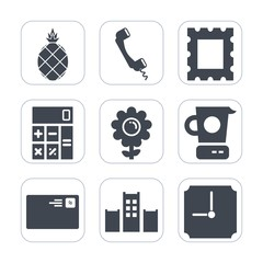 Premium fill icons set on white background . Such as bed, letter, fresh, border, diet, phone, frame, calculator, sign, blank, flower, mixer, hotel, exotic, communication, kitchen, hour, telephone, art