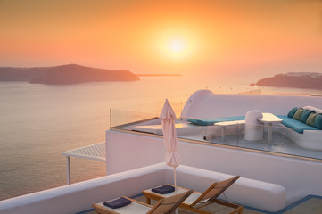 Beautiful and famous sunset on Santorini island, Greece