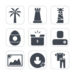 Premium fill icons set on white background . Such as human, contact, sign, image, strategy, clothes, knight, play, game, chess, fashion, house, king, picture, add, easter, celebration, account, tower