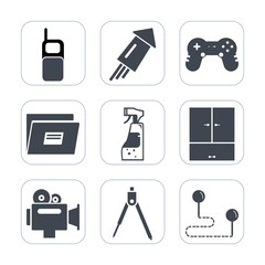 Premium fill icons set on white background . Such as point, sign, party, mobile, gaming, travel, spray, event, celebration, video, festival, light, fire, old, map, camera, position, wireless, bottle