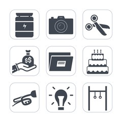 Premium fill icons set on white background . Such as exercise, paper, lens, sport, tool, photographer, file, black, technology, fitness, hand, sack, light, sweet, trumpet, sign, healthy, business, cut