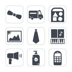 Premium fill icons set on white background . Such as megaphone, bow, hospital, note, paper, medical, ribbon, bear, mobile, frame, sound, care, musical, duck, photo, decoration, sign, gift, blank, ball