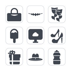 Premium fill icons set on white background . Such as petal, west, box, fitness, package, pink, floral, object, sheriff, spring, fashion, girl, white, gift, water, cloud, nature, cowboy, hat, sport