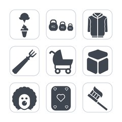 Premium fill icons set on white background . Such as dinner, dessert, game, milk, pram, shirt, baby, style, holiday, hygiene, cube, sign, health, jacket, spoon, measurement, food, child, clothes, care