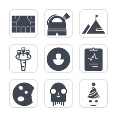 Premium fill icons set on white background . Such as rock, movie, avatar, alcohol, birthday, ufo, sweet, human, fun, dessert, food, wineglass, party, element, mountain, telescope, drink, medical, wine