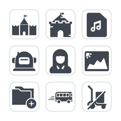 Premium fill icons set on white background . Such as old, fairytale, music, network, bus, note, architecture, kingdom, fantasy, frame, woman, sign, palace, photo, picture, science, technology, sound