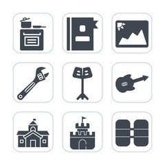 Premium fill icons set on white background . Such as equipment, address, telephone, business, book, tank, cooking, stove, photo, tool, directory, white, list, food, paper, frame, information, picture