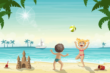 Two Kids Are Playing On The Beach