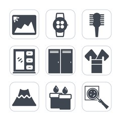 Premium fill icons set on white background . Such as white, interior, screen, device, search, kimono, brush, image, paper, hairbrush, care, frame, entrance, magnifier, blank, old, costume, time, smart