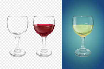 Wineglass 3D vector illustration of realistic crockery for wine. Isolated transparent glasses or glassware mockup template models set for alcoholic drinks, empty and with half of white and red wine
