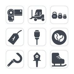 Premium fill icons set on white background . Such as harvest, business, photographer, technology, picture, car, transport, skating, agriculture, photo, weight, ice, sport, winter, truck, cargo, lens