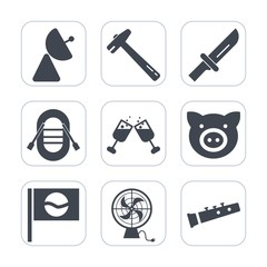 Premium fill icons set on white background . Such as air, table, meal, travel, sailboat, sound, red, swine, cutlery, japan, piglet, alcohol, repair, work, spanner, dinner, tool, equipment, sign, ship