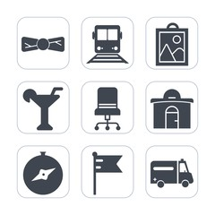 Premium fill icons set on white background . Such as clothing, suit, tie, picture, train, medical, flag, compass, furniture, accessory, hospital, fashion, bar, drink, armchair, business, camera, sign