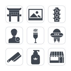 Premium fill icons set on white background . Such as ufo, clean, technology, frame, landmark, food, light, background, picture, japan, cutlery, account, japanese, green, avatar, space, soap, old, wine