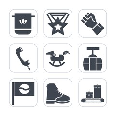 Premium fill icons set on white background . Such as white, asia, car, japan, textile, computer, towel, luggage, cotton, hand, train, baby, medal, toy, bag, sky, boot, bathroom, success, mobile, prize