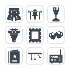 Premium fill icons set on white background . Such as white, exercise, ribbon, pendulum, photo, favorite, picture, winner, gym, first, wear, drink, sport, clothing, short, health, fashion, favour, beer