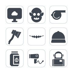Premium fill icons set on white background . Such as extraterrestrial, necklace, work, jam, hairdryer, dryer, jewelry, glass, axe, alien, cosmonaut, care, hair, technology, sign, humanoid, cloud, blow