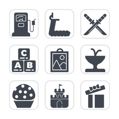 Premium fill icons set on white background . Such as weapon, gift, background, gasoline, gas, station, fountain, pump, sand, oil, white, box, dessert, water, sword, celebration, picture, gym, service