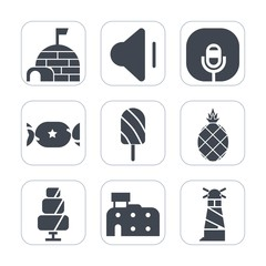 Premium fill icons set on white background . Such as striped, audio, summer, microphone, sea, lighthouse, city, north, fruit, music, popsicle, architecture, sign, winter, arctic, candy, fresh, stick