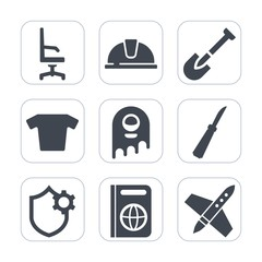Premium fill icons set on white background . Such as immigration, chair, tourism, monster, knife, work, clothes, interior, room, furniture, engineer, rocket, white, industrial, internet, construction