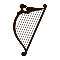 Harp silhouette. Vector illustration isolated on white background.