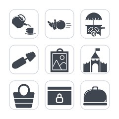 Premium fill icons set on white background . Such as service, hobby, bowling, fun, ball, web, black, leisure, leather, website, building, object, business, cream, cup, vehicle, restaurant, recreation