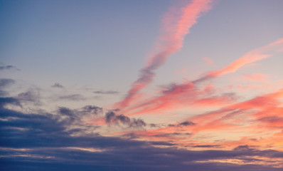 Beautiful sunset sky with clouds, natural abstract background and texture