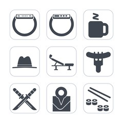 Premium fill icons set on white background . Such as cap, time, katana, japan, food, hot, object, tea, screen, seat, sword, drink, fitness, location, salmon, hotdog, travel, sausage, map, gadget, hat