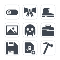 Premium fill icons set on white background . Such as equipment, monster, accessory, alien, space, electric, boot, hammer, computer, tie, electrical, diskette, control, spanner, energy, electricity