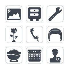 Premium fill icons set on white background . Such as picture, work, spring, old, blossom, office, photography, coffee, flower, spanner, person, time, food, floral, worker, add, sign, chef, belt, paper