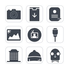 Premium fill icons set on white background . Such as photographer, digital, technology, house, fiction, ufo, camera, website, lantern, frame, clothing, lens, equipment, sign, style, screen, element