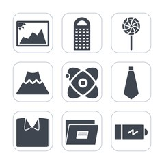 Premium fill icons set on white background . Such as blank, battery, picture, candy, full, fashion, astronomy, tie, paper, old, volcano, grater, kitchen, energy, photography, photo, cheese, power, new