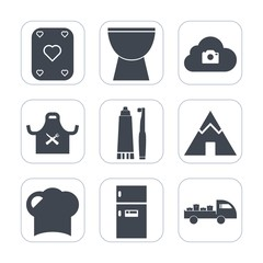 Premium fill icons set on white background . Such as photo, sign, kitchen, play, outdoor, sound, freezer, gambling, musical, casino, music, head, black, delivery, fridge, chef, percussion, restaurant