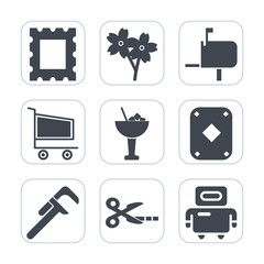 Premium fill icons set on white background . Such as frame, android, beautiful, blossom, cherry, branch, message, game, art, industrial, drink, reparation, tool, pattern, blank, play, technology, mail
