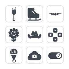 Premium fill icons set on white background . Such as location, play, clothing, blossom, bottle, skate, cap, gem, cloud, technology, drink, fashion, jewelry, , alcohol, necklace, party, headwear, game