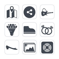 Premium fill icons set on white background . Such as navigation, web, footwear, beautiful, pink, blossom, diamond, ring, technology, city, fan, nature, location, internet, frame, share, concert, rock