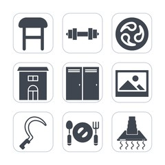 Premium fill icons set on white background . Such as frame, knife, plate, dumbbell, crest, pattern, modern, gardening, business, japan, spoon, interior, door, gym, building, health, home, weight, hood