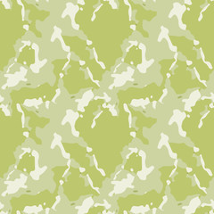 Camouflage seamless pattern. Background in different shades of green. Vector illustration, repeat camo as military print for paintball clothes, backdrop, endless grunge texture