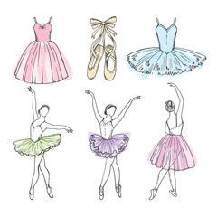 Sketch vector pictures of different ballet dancers. Hand drawn illustrations of ballerinas