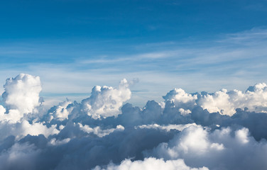 Blue sky background with white cloud,close up