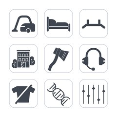 Premium fill icons set on white background . Such as construction, city, fashion, sign, bed, estate, home, clothing, carpet, floor, domestic, business, bedroom, tool, up, rollup, room, background, dna
