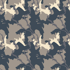 Urban camouflage of various shades of beige and navy. It is a colorful seamless pattern that can be used as a camo print for clothing and repeat background and backdrop or computer wallpaper