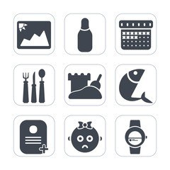 Premium fill icons set on white background . Such as date, child, blank, food, day, image, restaurant, seafood, ball, cute, kid, time, sea, timetable, graphic, spoon, fish, event, photo, photography