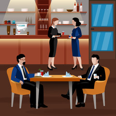 Colored Business Lunch People Composition