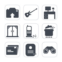 Premium fill icons set on white background . Such as window, guitar, interior, picture, space, photo, notebook, house, music, white, dish, desk, upload, rock, communication, camera, concert, home, top