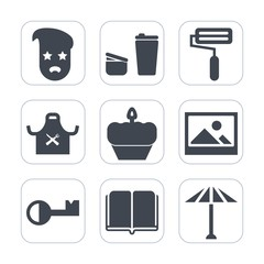 Premium fill icons set on white background . Such as hipster, mug, sweet, drink, coffee, morning, table, tool, japan, textbook, old, roll, hot, art, umbrella, wagasa, restaurant, sign, chief, book