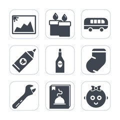 Premium fill icons set on white background . Such as photo, brush, cute, fashion, wine, care, speed, blank, winter, decoration, photography, transportation, bus, drink, frame, alcohol, red, warm, fire
